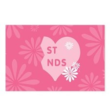 Pink Best Friends Heart Right Postcards (Package o