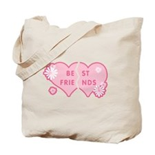 Best Friends Pink Double Heart Tote Bag