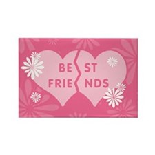 Best Friends Pink Double Heart Rectangle Magnet