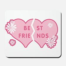 Best Friends Pink Double Heart Mousepad
