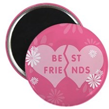Best Friends Pink Double Heart Magnet