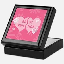 Best Friends Pink Double Heart Keepsake Box