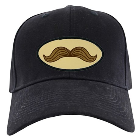 Retro Moustache Black Cap