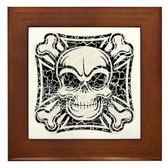 Vintage Maltese Skull -bw Framed Tile