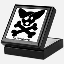 Pirate Corgi Skull Keepsake Box