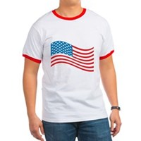 American Flag Wave Ringer T