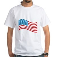 American Flag Wave White T-Shirt