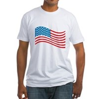 American Flag Wave Fitted T-Shirt