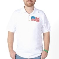 American Flag Wave Golf Shirt
