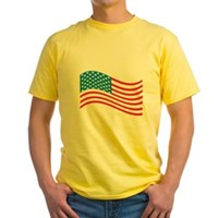 American Flag Wave Yellow T-Shirt