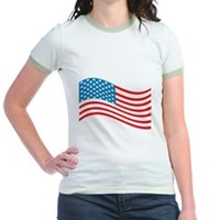 American Flag Wave Jr. Ringer T-Shirt