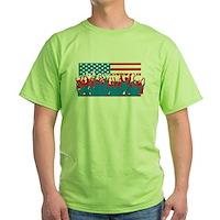4th July Flag Celebrations Green T-Shirt