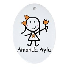 Orange Ribbon - Amanda Ayla Oval Ornament