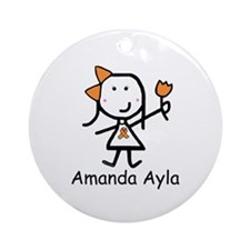Orange Ribbon - Amanda Ayla Ornament (Round)