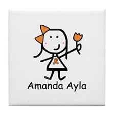 Orange Ribbon - Amanda Ayla Tile Coaster