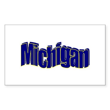 Wavy Michigan Rectangle Sticker