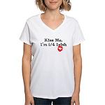 Kiss Me, I'm 1/4 Irish Women's V-Neck T-Shirt