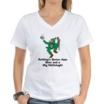 Beer and a Big Shillelagh! Women's V-Neck T-Shirt