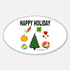 HAPPY HOLIDAY Oval Decal