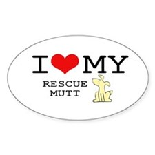 I Love My Rescue Mutt Oval Decal