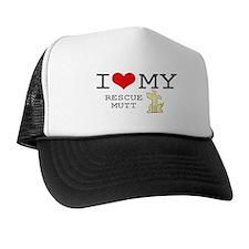 I Love My Rescue Mutt Trucker Hat