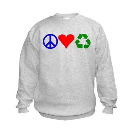 Peace, love, recycle Kids Sweatshirt