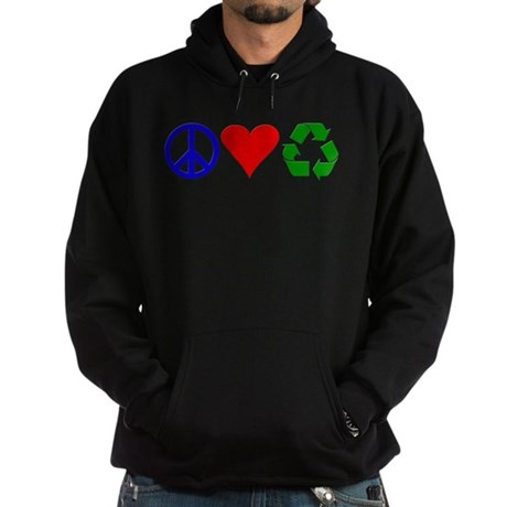 Peace, love, recycle Hoodie (dark)