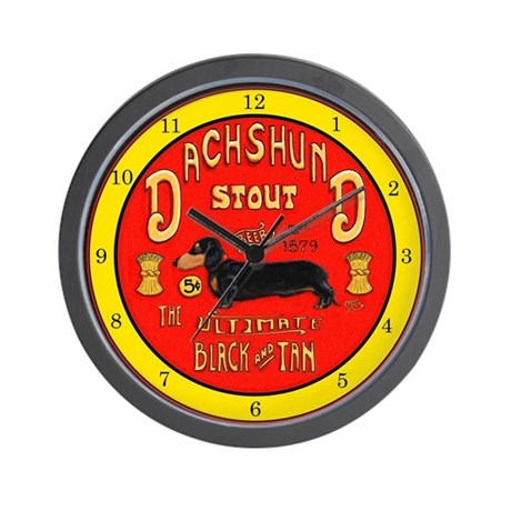 dachshund stout yellow wall clock by almccoy