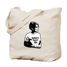 Palin Quitters Never Win Tote Bag