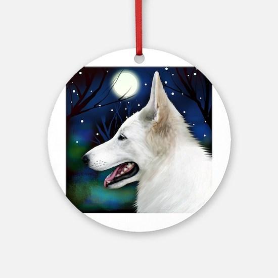 White German Shepherd Dog Moon Ornament (Round)
