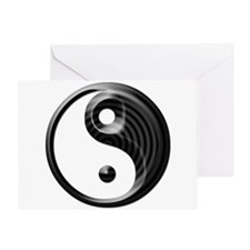Black Striped Yin Yang Greeting Card