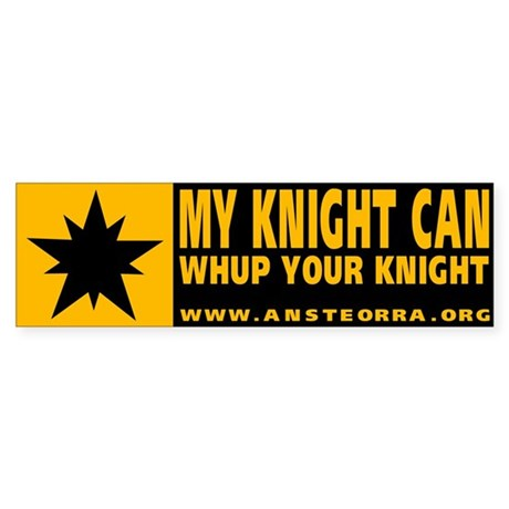 "Ansteorra Vinyl ""My knight"" Bumper Sticker"