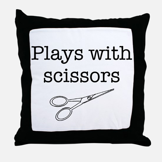 Plays With Scissors Throw Pillow