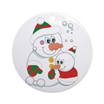 Snowmom and Baby Ornament (Round)