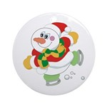 Snowman Ice Skating Ornament (Round)