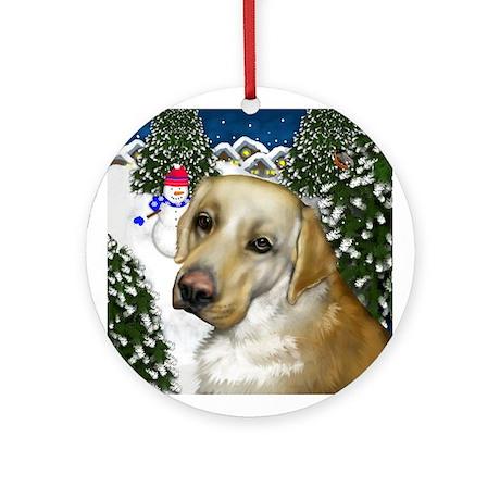 Labrador Retriever Dog Snowman Ornament (Round)