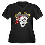 Pirate Skull Women's Plus Size V-Neck Dark T-Shirt