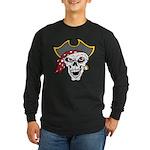 Pirate Skull Long Sleeve Dark T-Shirt