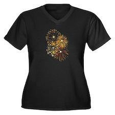 Fireworks Women's Plus Size V-Neck Dark T-Shirt