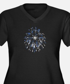 Fireworks Women's Plus Size V-Neck Dark T-Shirt