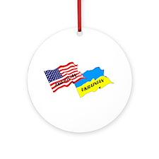American-Ukrainian Flags Ornament (Round)