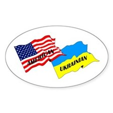 American-Ukrainian Flags Oval Decal