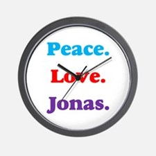 Peace. Love. Jonas. Wall Clock