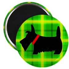Green Plaid Scottie Magnet
