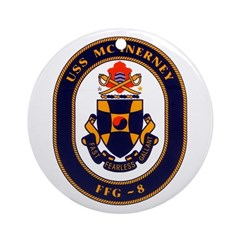 USS McInerney FFG-8 Navy Ship Ornament (Round)