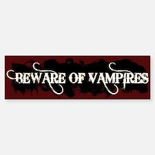 """""""Beware of Vampires"""" Bumper Bumper Bumper Sticker"""