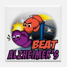 Funny Alzheimers disease boxing gloves Tile Coaster