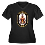 USS Shiloh CG-67 Navy Ship Women's Plus Size V-Nec