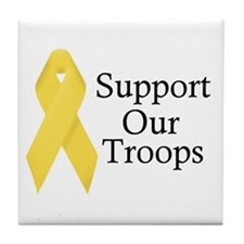 Yellow Ribbon Support Tile Coaster