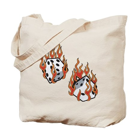 Flaming Dice Tote Bag